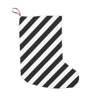 Meia De Natal Pequena Teste padrão diagonal preto e branco das listras