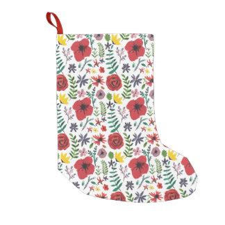 Meia De Natal Pequena Teste padrão floral do Watercolour