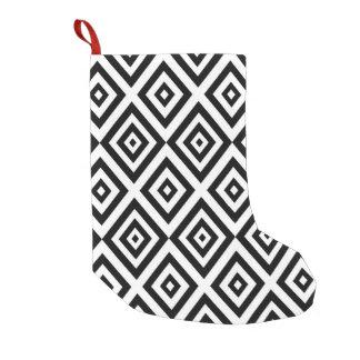 Meia De Natal Pequena Teste padrão geométrico abstrato - preto e branco.
