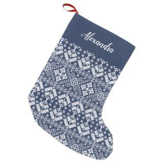 Meia De Natal Pequena Teste padrão nórdico da camisola dos azuis