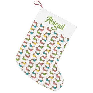 Meia De Natal Pequena Teste padrão personalizado Dachshund do Natal (2