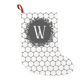 Meia De Natal Pequena Teste padrão preto e branco da colmeia com
