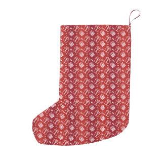 Meia De Natal Pequena teste padrão vermelho abstrato do feriado
