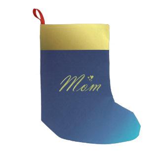 Meia De Natal Pequena texto dourado da mamã na meia azul do Natal