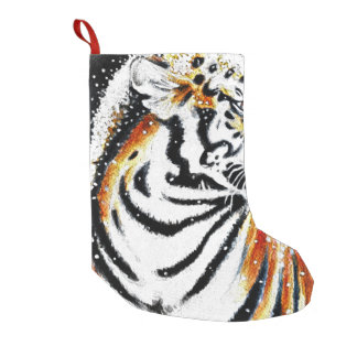 Meia De Natal Pequena Tigre na neve noir