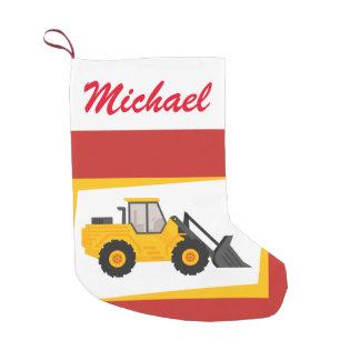 Meia De Natal Pequena Trator amarelo moderno personalizado do carregador
