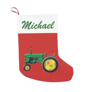 Meia De Natal Pequena Trator personalizado do verde do vintage no