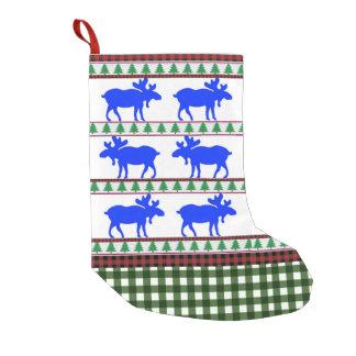 Meia De Natal Pequena Uma vez em um alce azul - meia