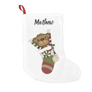 Meia De Natal Pequena Ursinho branco vermelho da meia do feriado do