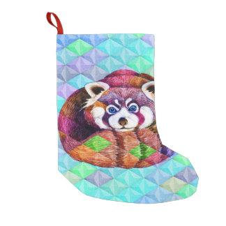 Meia De Natal Pequena Urso de panda vermelha no cubism de turquesa