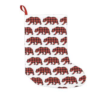 Meia De Natal Pequena Urso do Tartan