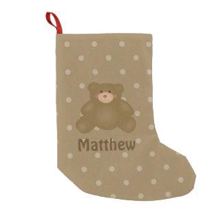 Meia De Natal Pequena Urso e bolinhas de ursinho peluches bonito do bebê