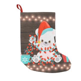Meia De Natal Pequena Urso polar pequeno bonito com luzes de Natal