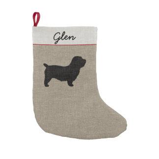 Meia De Natal Pequena Vale da silhueta de Imaal Terrier com texto