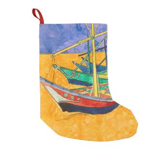 Meia De Natal Pequena Van Gogh que pinta barcos famosos