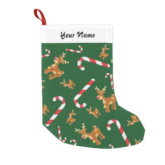 Meia De Natal Pequena Verde bonito do teste padrão do bastão de doces de