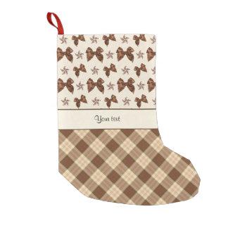 Meia De Natal Pequena Verificações de Brown & arcos bonitos