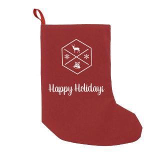 Meia De Natal Pequena Vermelho e branco boas festas