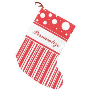 Meia De Natal Pequena Vermelho & White Christmas
