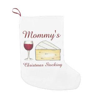 Meia De Natal Pequena Vinho tinto do Natal do queijo do brie do vidro de