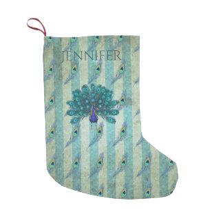 Meia De Natal Pequena Vintage personalizado da meia do Natal do pavão