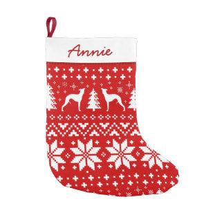 Meia De Natal Pequena Whippet mostra em silhueta o teste padrão vermelho