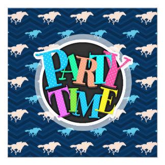 Meia-noite, azul-céu, Tan, corrida de cavalos Chev Convite Personalizado