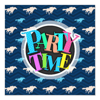 Meia-noite, azul-céu, Tan, corrida de cavalos Convite Personalizado