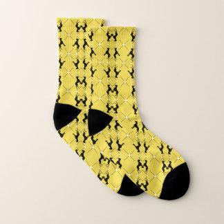 Meias amarelas pretas extravagantes de great dane