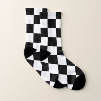 Meias Branco de competência Checkered clássico do preto