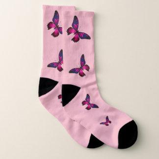 Meias Meias cor-de-rosa da borboleta, (mulheres grande