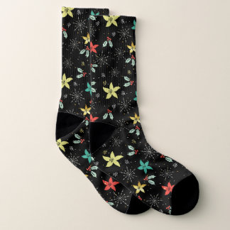 Meias Folha do Natal & teste padrão coloridos dos flocos