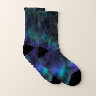 Meias Galáxia azul e verde