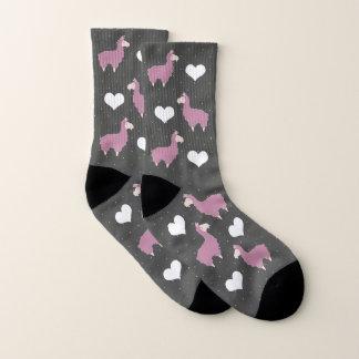 Meias Lamas cor-de-rosa engraçados bonitos & corações