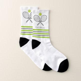 Meias Raquetes de tênis e listras verdes e cinzentas da