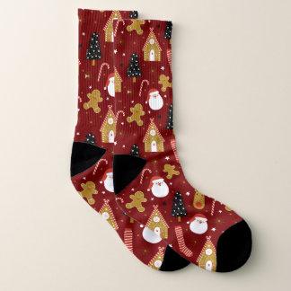 Meias Teste padrão colorido bonito dos símbolos do Natal