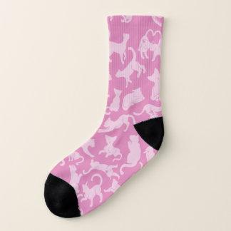 Meias Teste padrão cor-de-rosa do gato