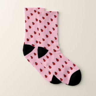 Meias Teste padrão cor-de-rosa e vermelho feminino