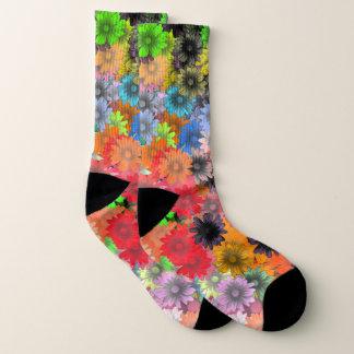 Meias Teste padrão de flor floral colorido