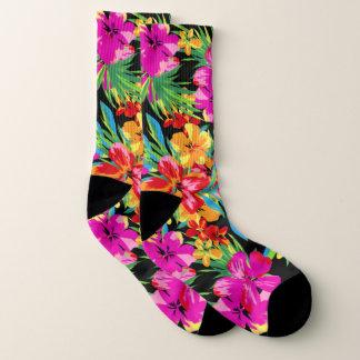 Meias Teste padrão floral havaiano brilhante