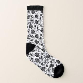 Meias Teste padrão floral preto e branco elegante dos