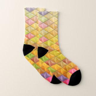 Meias Teste padrão geométrico do Cubism cor-de-rosa