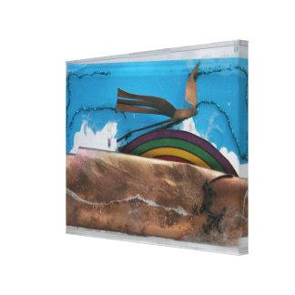 Meios mistos C do arco-íris e do pássaro K7 1986 Impressão Em Tela
