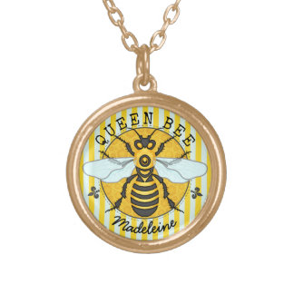 Mel | da abelha de rainha do zangão da abelha colar banhado a ouro