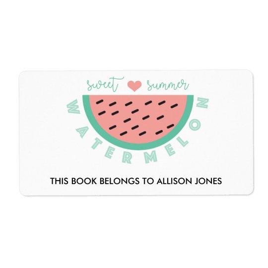 Melancia doce do verão de volta ao livro de escola etiqueta de frete