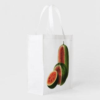 Melancias orgânicas da fruta da comida do vintage, sacola ecológica para supermercado