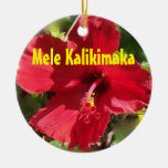 Mele havaiano Kalikimaka Ornamento De Cerâmica Redondo
