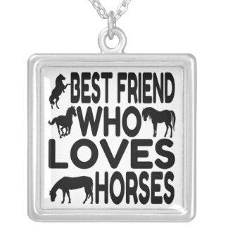 Melhor amigo do amante do cavalo colar com pendente quadrado