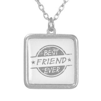 Melhor amigo sempre cinzento colar com pendente quadrado