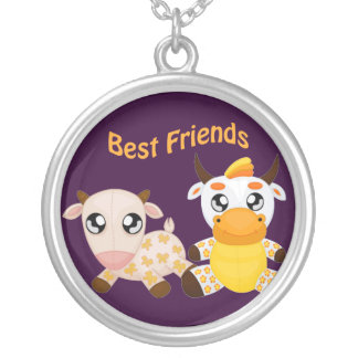 Melhores amigos animais colar com pendente redondo